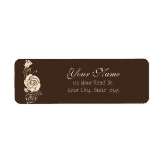 Coffee and Cream Roses Return Address Label