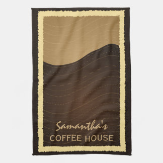 Coffee and Cream Waves Vertical Kitchen Tea Towel
