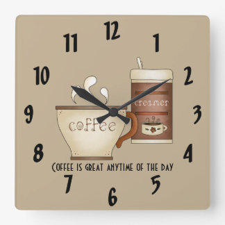 Coffee and Creamer Square Wall Clock