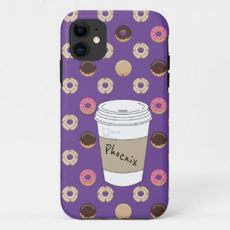 Coffee and Donuts Custom Name Case-Mate iPhone Case