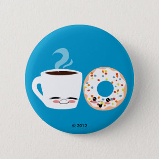 Coffee and Doughnut Pals 6 Cm Round Badge