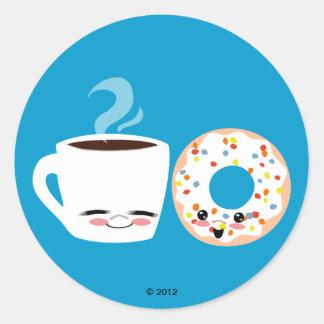 Coffee and Doughnut Pals Round Sticker