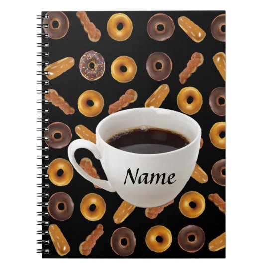 Coffee and Doughnuts Customisable Spiral Notebook
