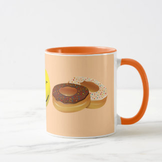 Coffee and doughnuts. mug