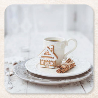 Coffee and gingerbread cookie coaster square paper coaster
