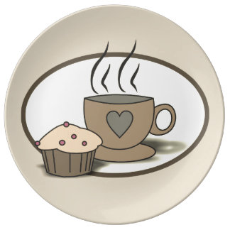 Coffee and Muffin Plate for Coffee Lovers Porcelain Plates
