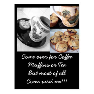 coffee and muffins 2, blueberry muffins, coffee... postcard