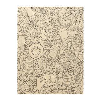 Coffee And Tea Doodle 5 Wood Print