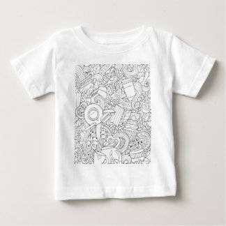 Coffee And Tea Doodle Baby T-Shirt