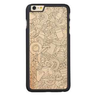 Coffee And Tea Doodle Carved® Maple iPhone 6 Plus Case