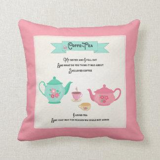 Coffee and Tea Rhyme Pink and Green Cushion