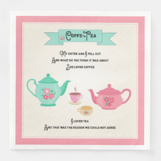 Coffee and Tea Rhyme Pink and Green Disposable Serviettes