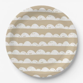 Coffee and White Clouds Pattern Paper Plate
