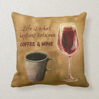 Coffee and Wine Life Happens Pillow