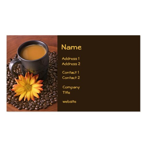 Coffee and Yellow Daisy Business Card Business Card