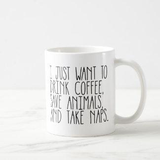 coffee animals naps basic white mug