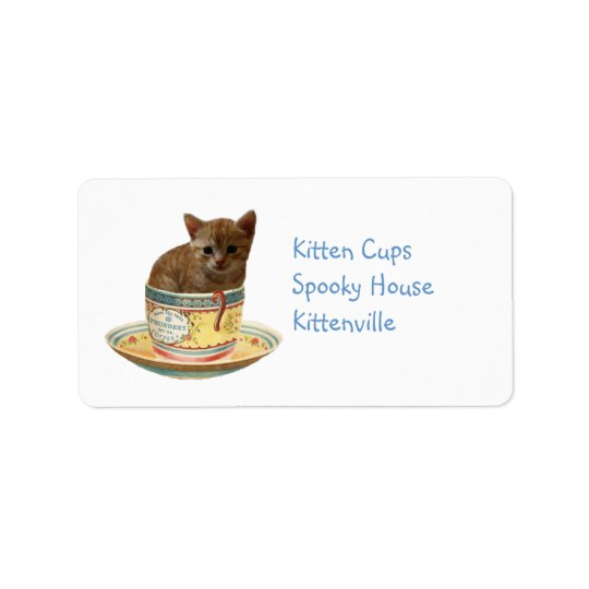 Coffee Anyone? Kitten in a cup address label