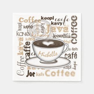 Coffee Around the World Name Disposable Serviettes