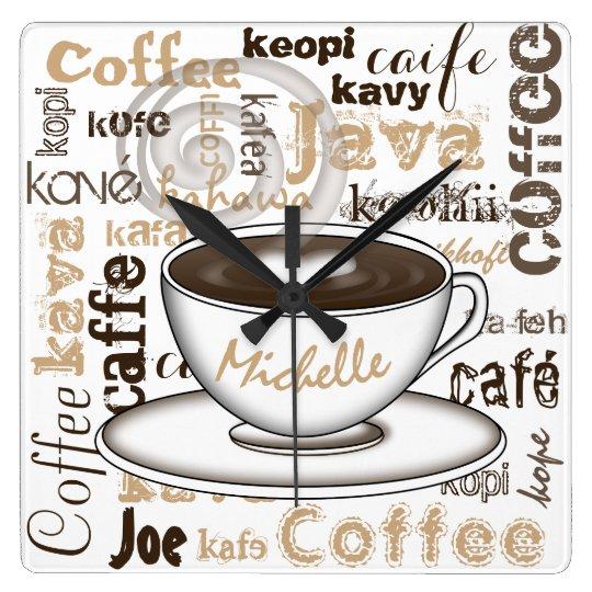 Coffee Around the World Name Square Wall Clock