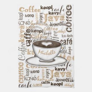 Coffee Around the World Name Tea Towel