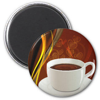 Coffee Art Cafe 6 Cm Round Magnet