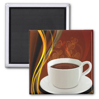 Coffee Art Cafe Square Magnet