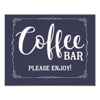 coffee bar wedding sign navy blue nautical