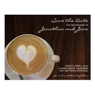 Coffee Barrista Cafe Latte Wedding Save the Date Postcard