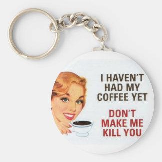 coffee basic round button key ring