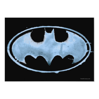Coffee Bat Symbol - Blue 13 Cm X 18 Cm Invitation Card