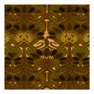 Coffee Bean and Flower Pattern Poster