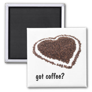 Coffee Bean Heart Square Magnet
