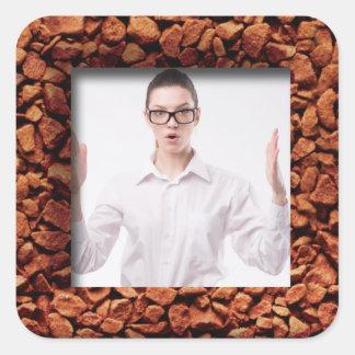Coffee Bean Photo Personalized Square Sticker