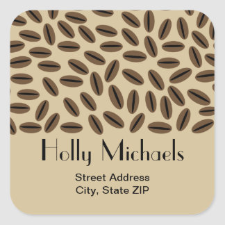 Coffee Beans Address Sticker