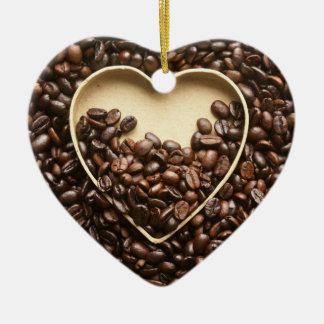 Coffee Beans and Heart Christmas Ornament