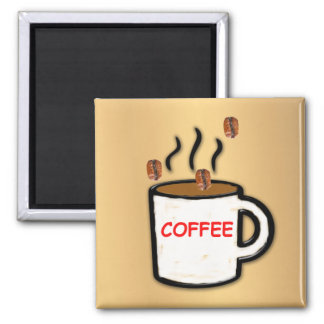 Coffee Beans and Mug Square Magnet