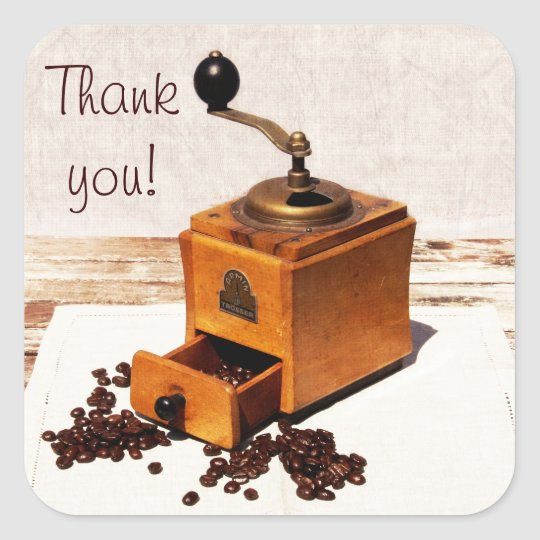 Coffee beans and old coffee mill thank you sticker
