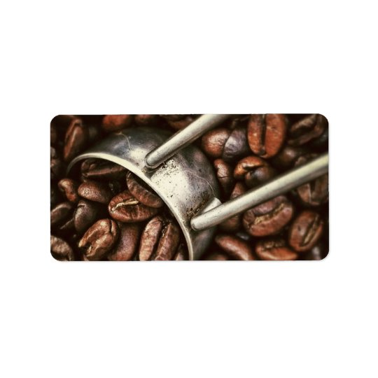 Coffee Beans and Scoop Address Label