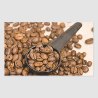 Coffee Beans Background Rectangular Sticker