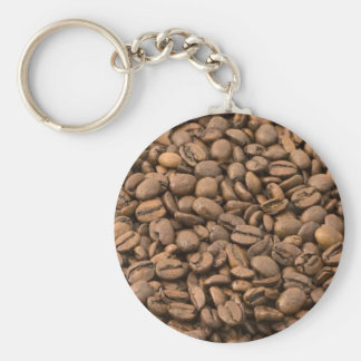 Coffee Beans Basic Round Button Key Ring