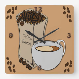 Coffee Beans Coffee Cup Design Wall Clocks