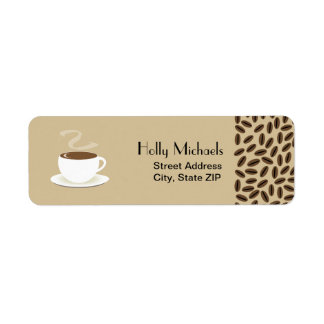 Coffee Beans & Cup Of Coffee Address Labels
