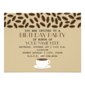 Coffee Beans Cup Of Coffee Birthday Invitations