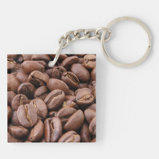Coffee Beans Double-Sided Square Acrylic Key Ring