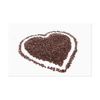 Coffee beans heart stretched canvas prints