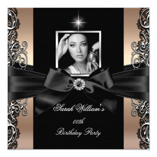 Coffee Beige Birthday Party Black Silver Photo 13 Cm X 13 Cm Square Invitation Card