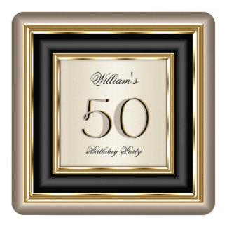 Coffee Beige Cream Gold Black Birthday Party 2A 13 Cm X 13 Cm Square Invitation Card