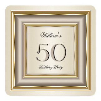 Coffee Beige Cream Gold Silver Birthday Party 13 Cm X 13 Cm Square Invitation Card