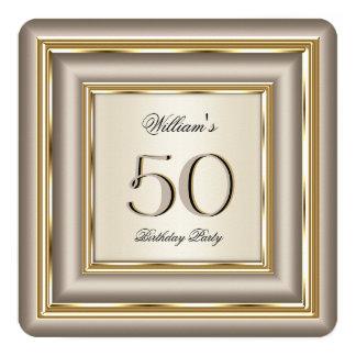 Coffee Beige Cream Gold Silver Birthday Party 2 13 Cm X 13 Cm Square Invitation Card
