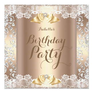 Coffee Beige White Lace Damask Birthday Party 13 Cm X 13 Cm Square Invitation Card